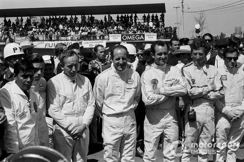 Jim Clark, Lotus, John Surtees, Cooper, Denny Hulme, Brabham, Bob Bondurant, Eagle, Jochen Rindt, Cooper, Jackie Stewart, Bernard White Racing, al GP del Messico del 1966
