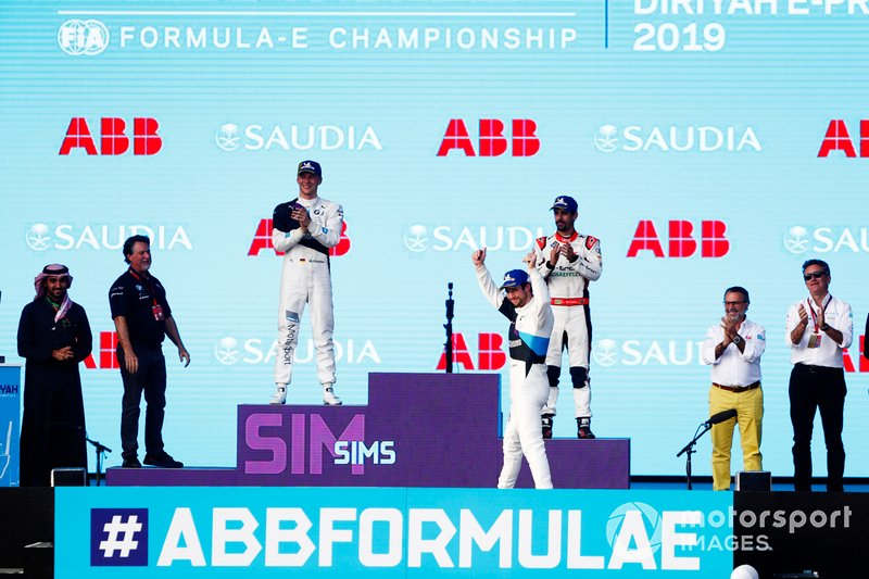Alexander Sims, BMW I Andretti Motorsports, BMW iFE.20, celebrates at the podium after winning the race