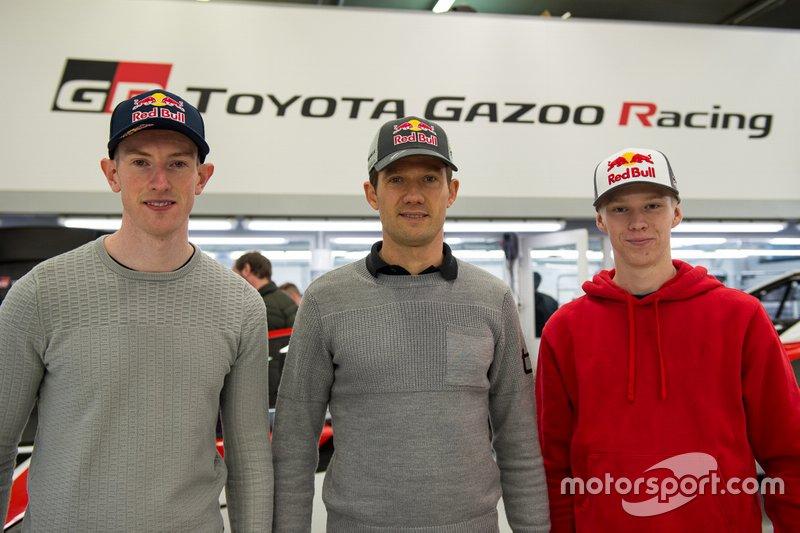 Los tres pilotos de Toyota: Evans, Ogier y Rovanpera