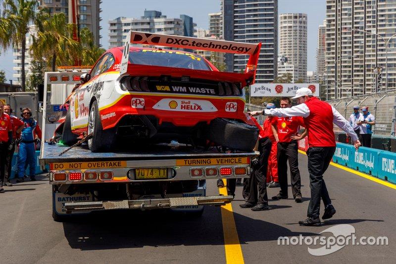 Разбитый автомобиль Ford Mustang Скотта Маклафлина, DJR Team Penske