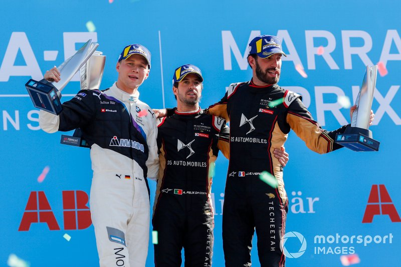 Podio: ganador Antonio Felix da Costa, DS Techeetah, segundo lugar Maximilian Günther, BMW I Andretti Motorsports, y tercer lugar Jean-Eric Vergne, DS Techeetah