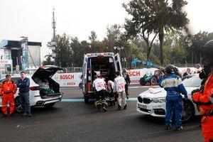 Daniel Abt, Audi Sport ABT Schaeffler is placed into an ambulance