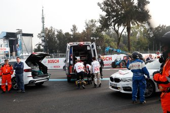 Daniel Abt, Audi Sport ABT Schaeffler is placed into an ambulance