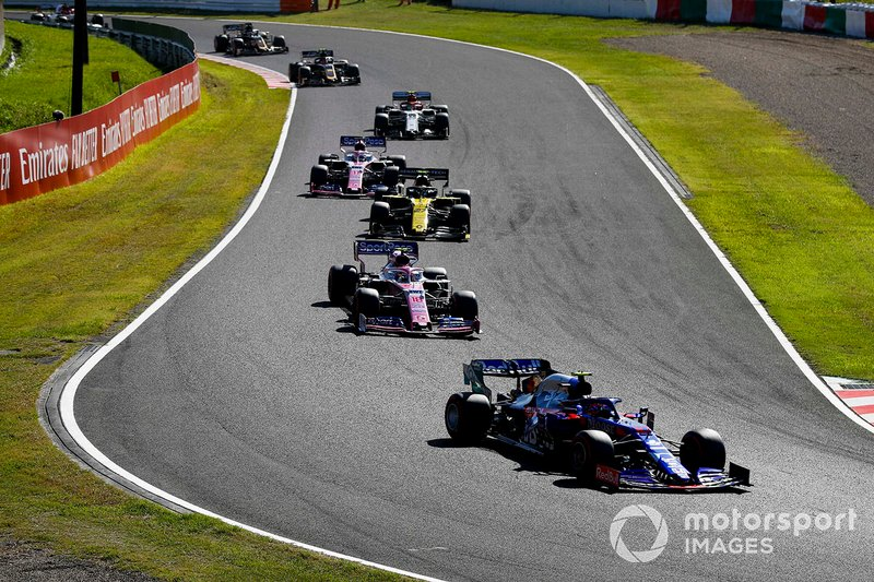 Pierre Gasly, Toro Rosso STR14, Lance Stroll, Racing Point RP19, Nico Hulkenberg, Renault F1 Team R.S. 19, Sergio Perez, Racing Point RP19, y Antonio Giovinazzi, Alfa Romeo Racing C38