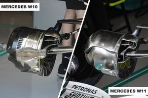 Las entradas de los frenos delanteros del Mercedes AMG F1 W10 y W11
