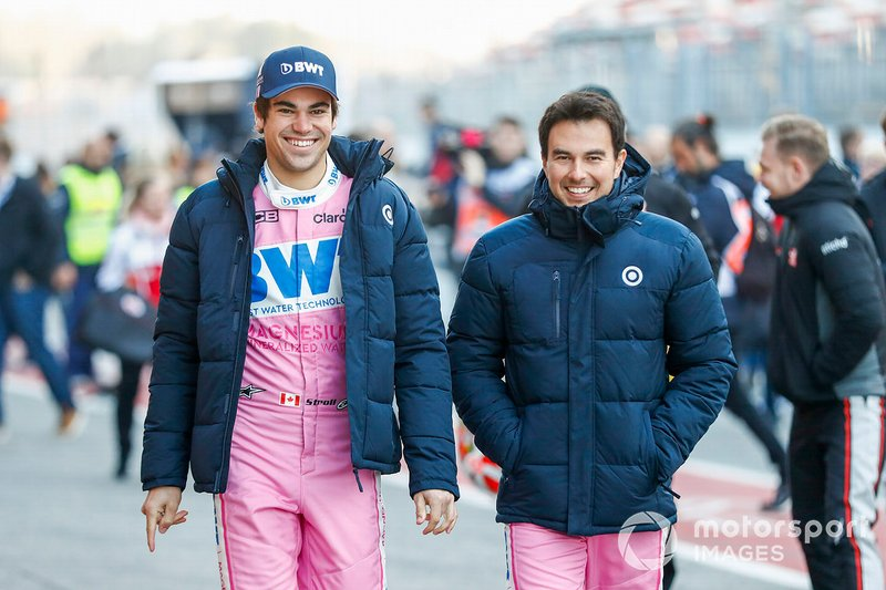 Lance Stroll, Racing Point, y Sergio Perez, Racing Point