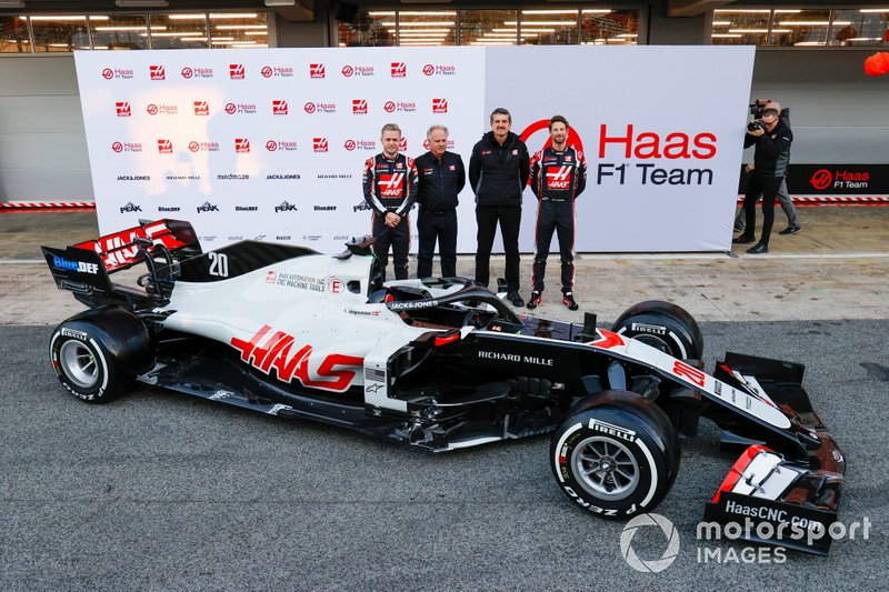 Kevin Magnussen, Haas F1 Team and Romain Grosjean, Haas F1 Team reveal the VF-20 with Gene Haas, Owner and Founder, Haas F1 Team and Guenther Steiner, Team Principal, Haas F1 Team