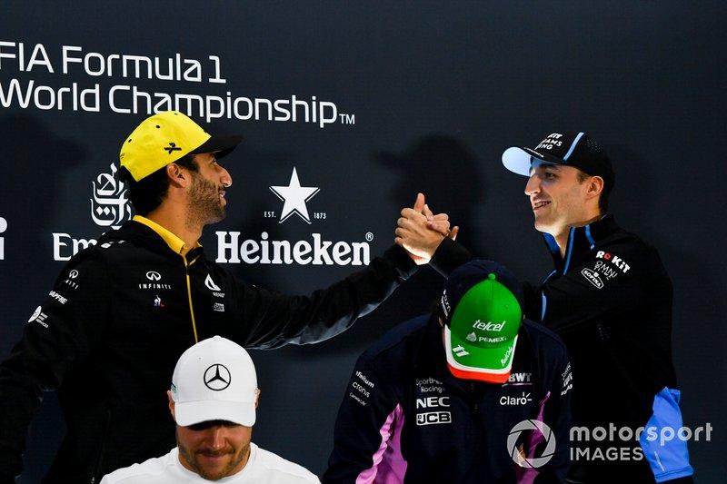 Daniel Ricciardo, Renault F1 Team, Valtteri Bottas, Mercedes AMG F1, Sergio Perez, Racing Point and Robert Kubica, Williams Racing In the Press Conference