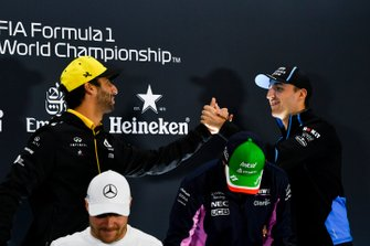 Daniel Ricciardo, Renault F1 Team, Valtteri Bottas, Mercedes AMG F1, Sergio Perez, Racing Point and Robert Kubica, Williams Racing In the Press Conference
