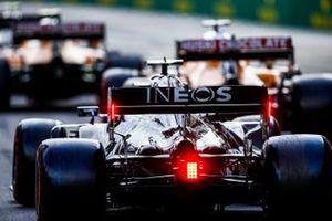 Valtteri Bottas, Mercedes F1 W11, in the pit lane