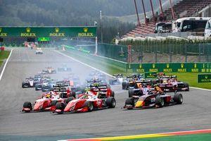 Oscar Piastri, Prema Racing, Frederik Vesti, Prema Racing and Liam Lawson, Hitech Grand Prix