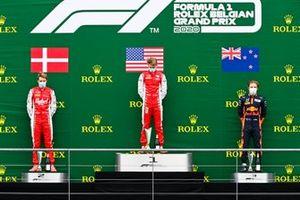 Frederik Vesti, Prema Racing, Race Winner Logan Sargeant, Prema Racing and Liam Lawson, Hitech Grand Prix on the podium