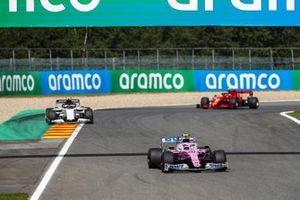 Lance Stroll, Racing Point RP20, Pierre Gasly, AlphaTauri AT01, and Charles Leclerc, Ferrari SF1000
