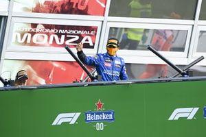 Carlos Sainz Jr., McLaren, 2nd position, arrives on the podium