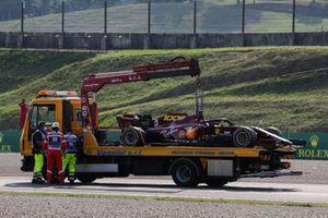The car of Sebastian Vettel, Ferrari SF1000, on a truck