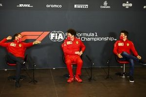 Sebastian Vettel, Ferrari, Mattia Binotto, Team Principal Ferrari, and Charles Leclerc, Ferrari, in a Press Conference