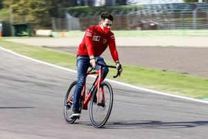 Charles Leclerc, Ferrari, rides around the circuit