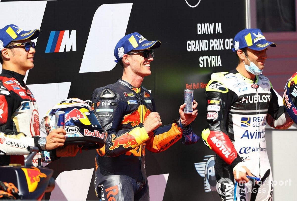 Polesitter Pol Espargaro, Red Bull KTM Factory Racing, second o posto Takaaki Nakagami, Team LCR Honda, terzo posto Johann Zarco, Avintia Racing