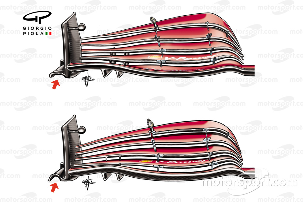 Ferrari SF1000 ön kanat kıyaslaması