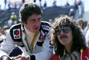 Patrick Depailler, Tyrrell talks with George Harrison, former Beatle and F1 fan