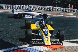Testacoda di Derek Warwick, Renault RE60, durante le Prove Libere del GP del Belgio del 1985