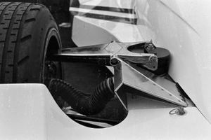 The front suspension on James Hunt's Hesketh 308B Ford