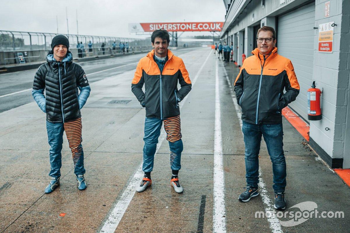 Ландо Норрис, Карлос Сайнс и глава McLaren Андреас Зайдль