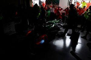 The Caterham F1 team run their engine to destruction in the garage