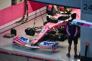 The car of Lance Stroll, Racing Point RP20, in the garage