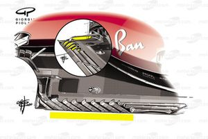Comparación del fondo plano del Ferrari SF1000, GP de Estiria