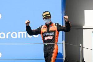 Felipe Drugovich, MP Motorsport celebrates on the podium