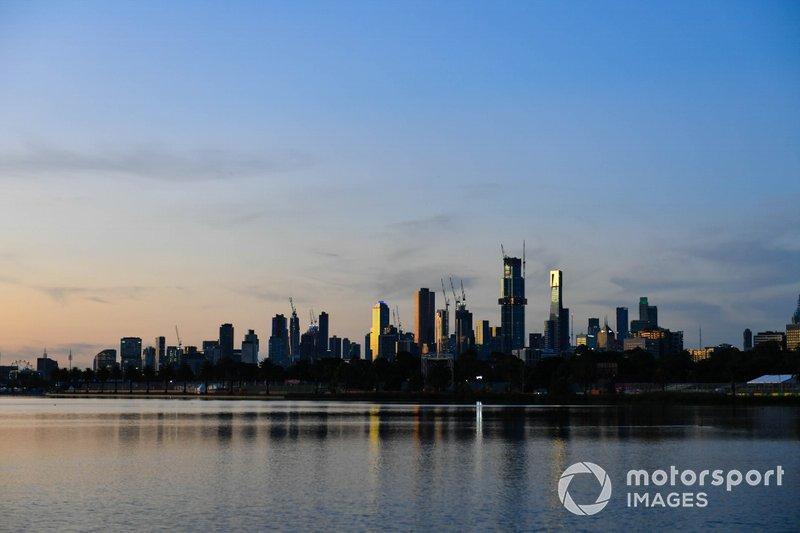 The Melbourne skyline at sunrise