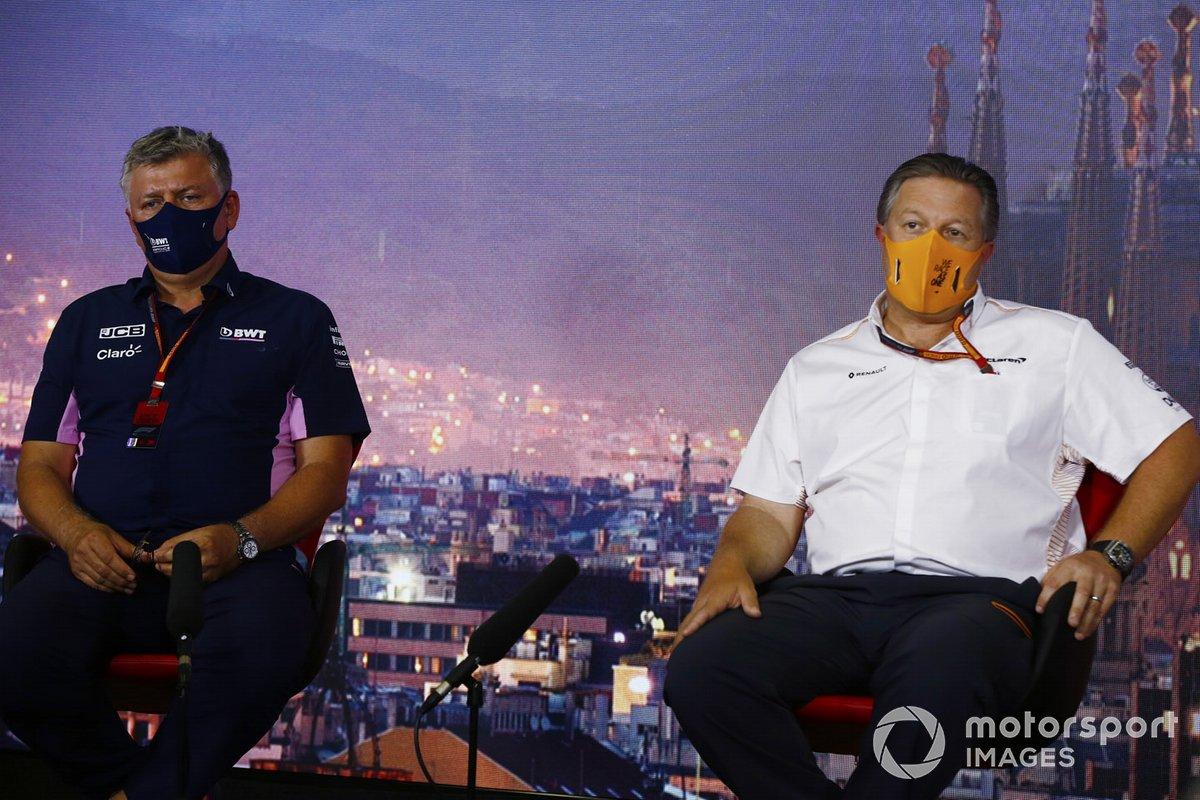 Zak Brown, Director Ejecutivo, McLaren y Otmar Szafnauer, Director del Equipo y CEO, Racing Point