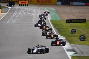 Christian Lundgaard, ART Grand Prix, leads Felipe Drugovich, MP Motorsport, Jack Aitken, Campos Racing, and Yuki Tsunoda, Carlin