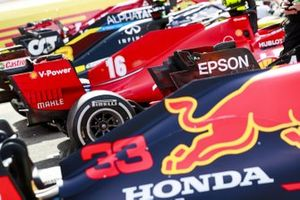 Cars of Max Verstappen, Red Bull Racing RB16, Charles Leclerc, Ferrari SF1000 in Parc Ferme
