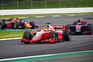 Mick Schumacher, Prema Racing, leads Callum Ilott, UNI-Virtuosi, and Jehan Daruvala, Carlin