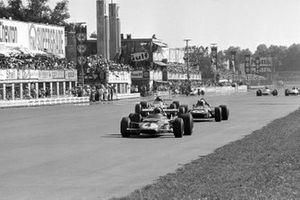 Clay Regazzoni, Ferrari 312B, Jackie Stewart and Denny Hulme