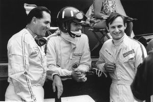 Jack Brabham, Brabham, Graham Hill, Team Lotus y Chris Amon, Ferrari