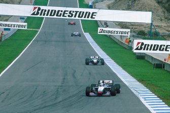 David Coulthard, McLaren MP4/12, leads team mate, Mika Hakkinen, McLaren MP4/12