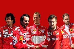 Гонщики Ferrari разных лет