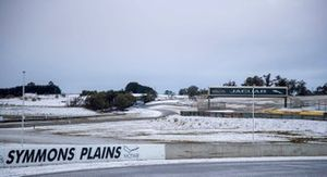 Symmons Plains covered in snow