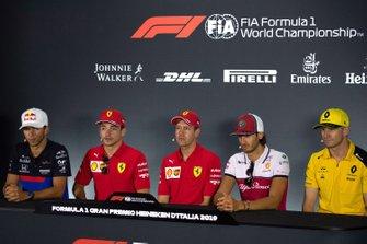 Pierre Gasly, Toro Rosso,Charles Leclerc, Ferrari, Sebastian Vettel, Ferrari, Antonio Giovinazzi, Alfa Romeo Racing and Nico Hulkenberg, Renault F1 Team in the Press Conference