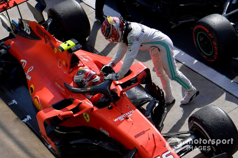Lewis Hamilton, Mercedes AMG F1, 3rd position, congratulates Charles Leclerc, Ferrari, 1st position, in Parc Ferme