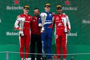 Marcus Armstrong, PREMA Racing, Race winner Robert Shwartzman, PREMA Racing and Jehan Daruvala, PREMA Racing on the podium
