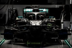 The car of Lewis Hamilton, Mercedes AMG F1 W10, in the garage