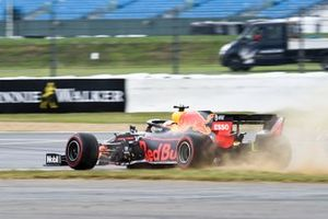 Max Verstappen, Red Bull Racing RB15, takes to the grass