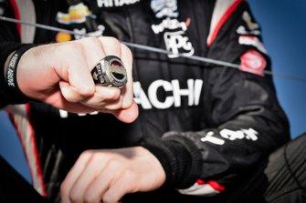 Josef Newgarden, Team Penske Chevrolet celebrates NTT IndyCar championship on podium Jostens Championship Ring