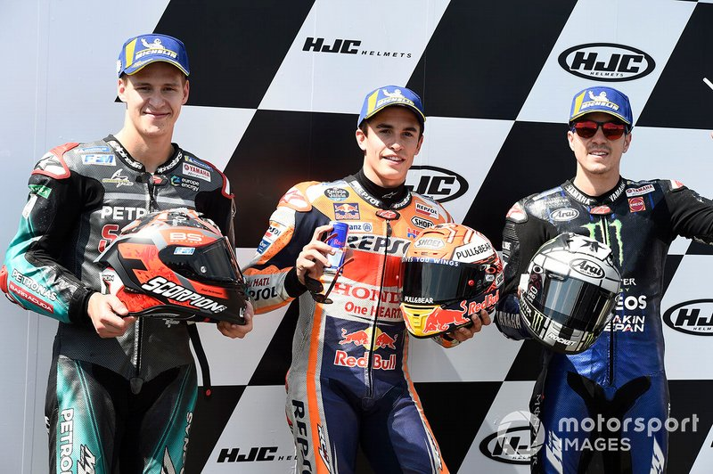 Polesitter Marc Marquez, Repsol Honda Team, second place Fabio Quartararo, Petronas Yamaha SRT, third place Maverick Vinales, Yamaha Factory Racing