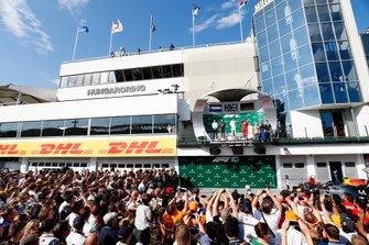 James Vowles, Motorsport Strategy Director, Mercedes AMG F1, Max Verstappen, Red Bull Racing, Race winner Lewis Hamilton, Mercedes AMG F1 and Sebastian Vettel, Ferrari celebrate on the podium
