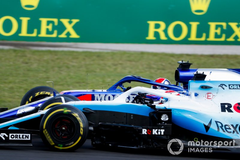 George Russell, Williams Racing FW42, lotta con Daniil Kvyat, Toro Rosso STR14